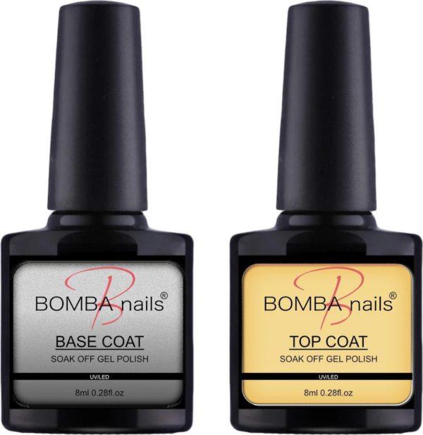 Bomba Nails® - Top coat & Base Coat - Gel Nagellak - Polygel - Acryl Nagels - Zonder plakkerig laagje - Lange houdbaarheid - Long Lasting