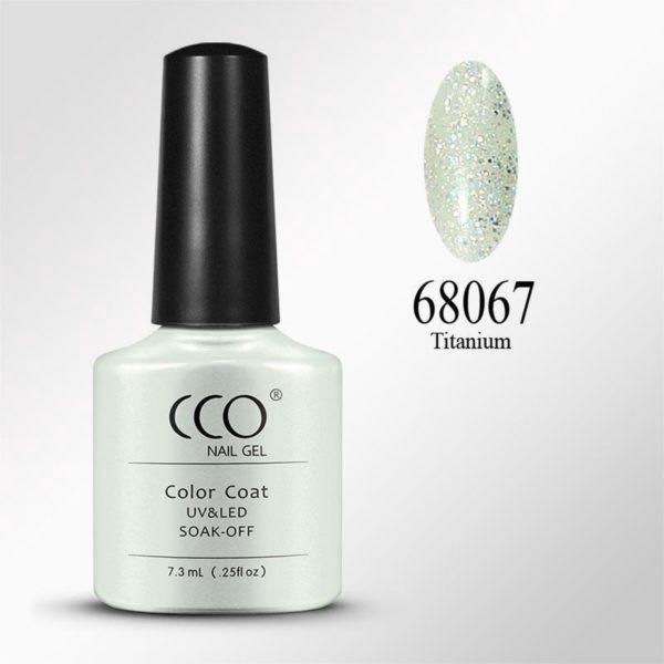 CCO Shellac - Titanium 68067 - transparante basis met een bomvol zilverenglitters-Gel Nagellak
