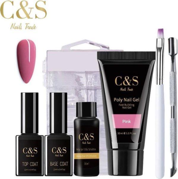C&S Nails Trade® Polygel Kit 30 ml - Pink - Slip Solution, Nagelvijl, Nageltips & Penseel, Topcoat, Basecoat, Polygel set, Polygel kit, Polygel starterset, Polygel, Gellak starterset, verlenging