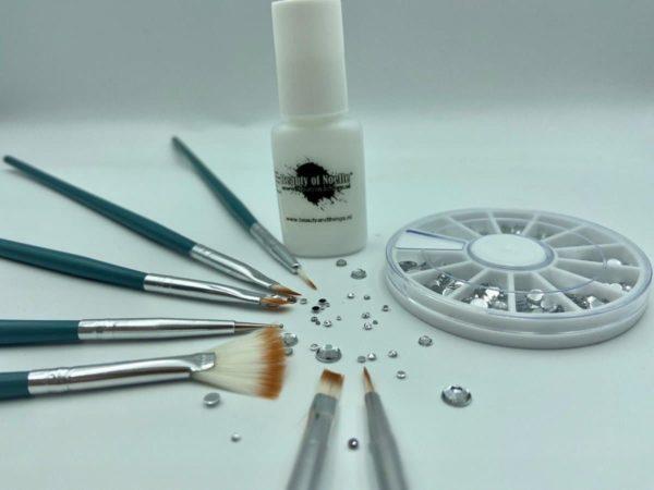 Carrousel spiegel R120 6cm+Lijm 7gr+Set 7st., Nailart Penselen groen - (COMBIDEAL03), nailart, manicure, acrylnagels, gelnagels, nepnagels
