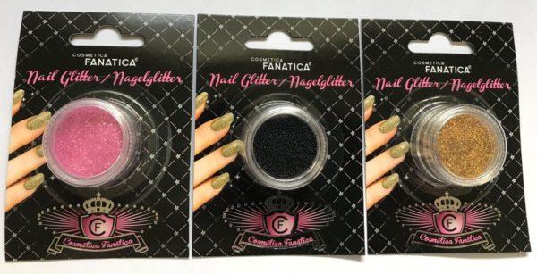 Cosmetica Fanatica - Nail Art - Set met 3 doosjes met * Nagel Glitter neon pink/roze * Nagel Glitter gold/goud * 3D Kaviaar Pareltjes black/zwart - in blisterverpakking