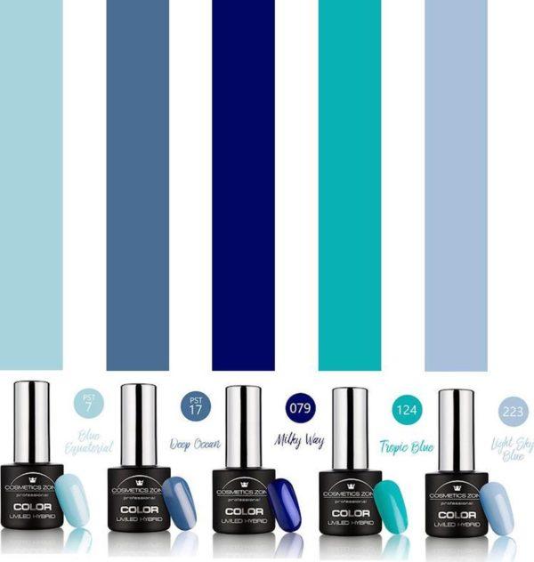 Cosmetics Zone Gellak Set 5 kleuren Blauw
