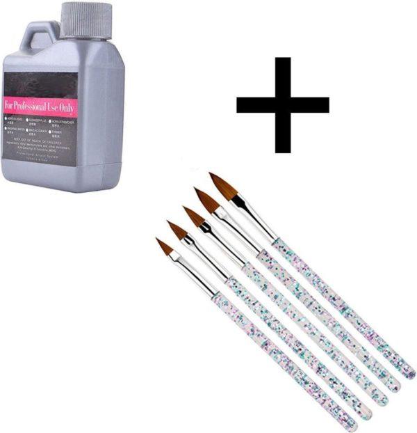 DW4Trading® Acryl vloeistof liquid monomer nagellak 120 ml + 5 acryl penselen