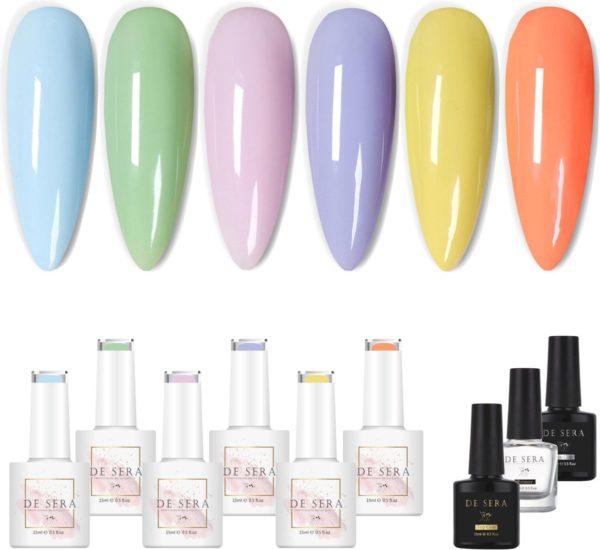 De Sera Gellak Starterspakket 9-delige Gellak Set - Gel Naggellak met Primer, Basecoat en Topcoat - Pastel Edition - 10ML - Pastel Kleuren