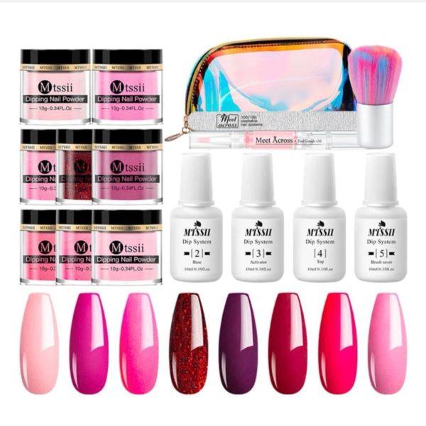 Dipping powder starter kit - 8 kleuren - roze - dip poeder - acryl nagels - dip nagels - meest complete starterspakket - nagel poeder - MTSSII -