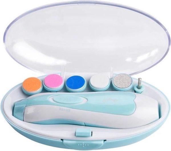 Elektrische Baby NagelKnipper Blauw & Handige Opberg Doos - Baby Nagelknipper - Baby nageltrimmer - Baby Nagelset - Baby Nagelvijl