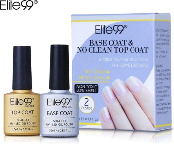 Elite99 - gellak - basecoat en topcoat set - UV/LED - gel nagels