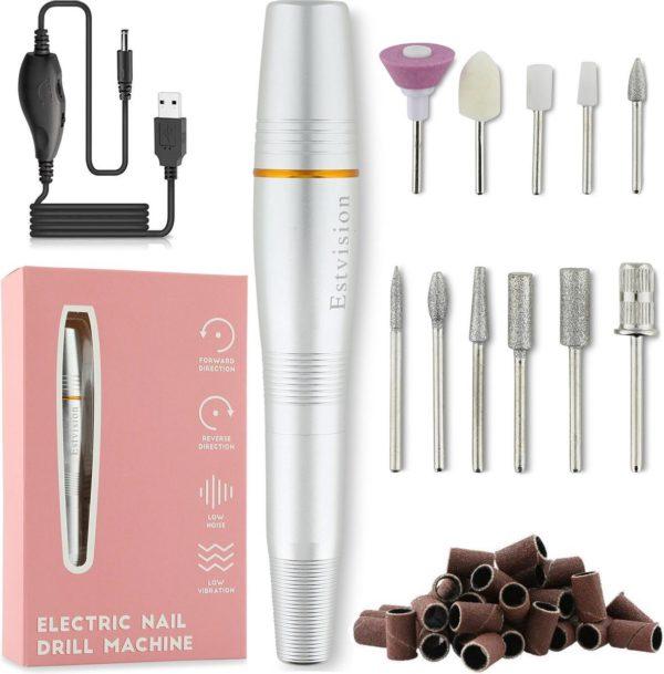 Estvision Nagelfrees - Manicure en Pedicure Set - Elektrische Nagelvijl - 11 bitjes en 56 schuurrolletjes - Silver