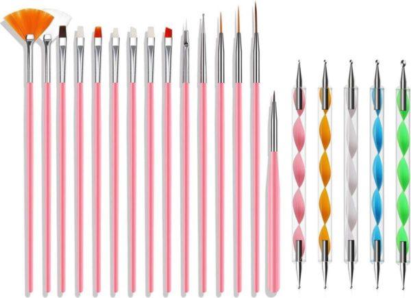 Evvie 20 delige nail art set - 15 nailart penselen en 5 dotting tools - Roze