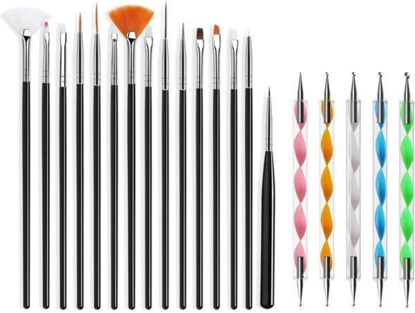 Evvie 20 delige nail art set - 15 nailart penselen en 5 dotting tools - Zwart