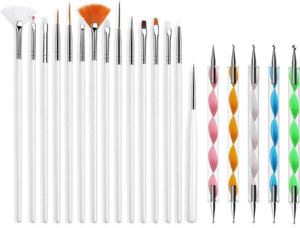 Evvie 20 delige nail art set - 15 nailart penselen en 5 dottingtools - Wit