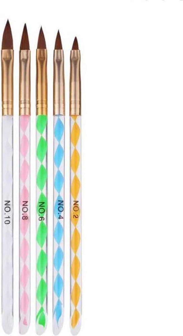 Evvie acryl penselen voor kunstnagels en nailart - set van 5