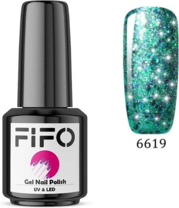 FIFO Nails, Elite Platinum Thermo Gel Polish - Thermo Gellak - Temperatuurgevoelige nagellak - Thermische nagellak - Temperatuur veranderende - Kleur veranderende - XL - #019 ( Groen - Blauw - Paars - Mermaid - Glinsterend) (Platinum) - UV & LED
