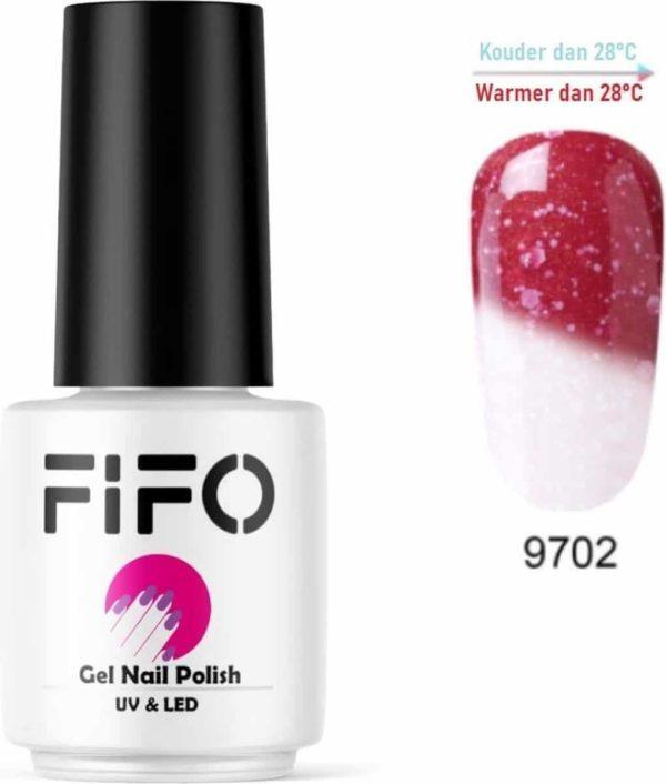 FIFO Nails, Thermo Gel Polish - Glitter - Kristal - Thermo Gellak - Temperatuurgevoelige nagellak - Thermische nagellak - Temperatuur veranderende - Kleur veranderende #9702 ( RoodBruin - Kastanje - Wit) (Glitter) - UV & LED