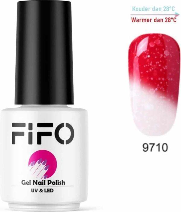 FIFO Nails, Thermo Gel Polish - Glitter - Kristal - Thermo Gellak - Temperatuurgevoelige nagellak - Thermische nagellak - Temperatuur veranderende - Kleur veranderende #9710 ( Rood - Wit) (Glitter) - UV & LED