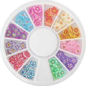 FIMO nail art bloemen in carrousel, +/- 150 stuks, flinterdun bloem nail art voor acrylnagels, gelnagels, nagellak, topcoat, UV top coat of gelnagellak / gellak!