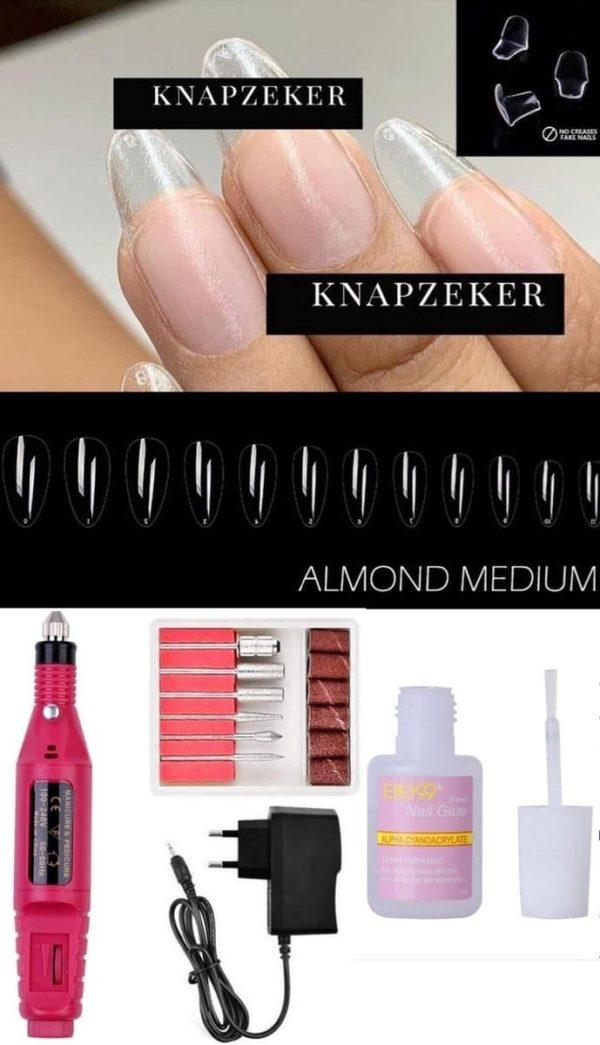 GEL Flex Nepnagels plaknagels almond shape - Fake nails- Nageltips 250 Stuks Transparant / Clear Tips + met lijm +Elektrische Nagelvijl - Polijststift - Nagel Boor Kit - Pedicure Nail Art - Nagelfrees - 6 bitjes