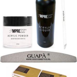 GUAP� Acryl Nagels Starterspakket Easy voor het maken van prachtige Acrylic Nagels - Inclusief Acryl Poeder Babyboom White, Acryl Vloeistof en Acryl Penselen