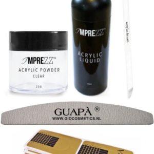 GUAP� Acryl Nagels Starterspakket Easy voor het maken van prachtige Acrylic Nagels - Inclusief Acryl Poeder Clear, Acryl Vloeistof en Acryl Penselen