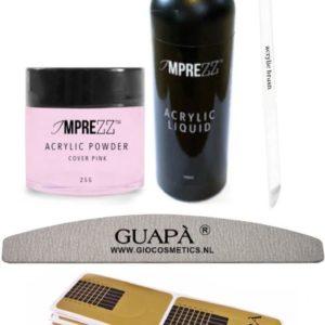 GUAP� Acryl Nagels Starterspakket Easy voor het maken van prachtige Acrylic Nagels - Inclusief Acryl Poeder Cover Pink, Acryl Vloeistof en Acryl Penselen