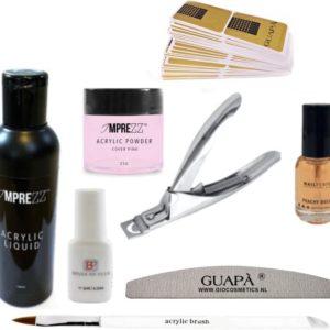 GUAP� Acryl Nagels Starterspakket voor het maken van prachtige Acrylic Nagels - Inclusief Acryl Poeder Cover Pink, Acryl Vloeistof en Acryl Penselen