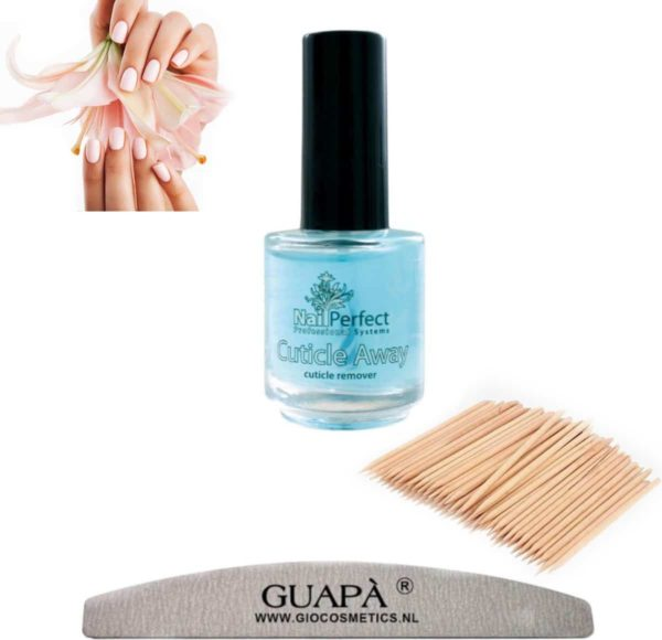 GUAP� Cuticle Remover Set 5 ml   Nagelriem Verwijderaar + Nagelvijl 100/180 + Cuticle Pusher   Nagelriem Duwer
