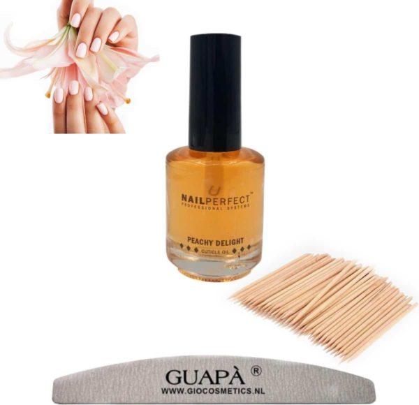 GUAP� Nagelriemolie Peach 5 ml | Cuticle Oil + Nagelvijl 100/180 + Cuticle Pusher | Nagelriem Duwer