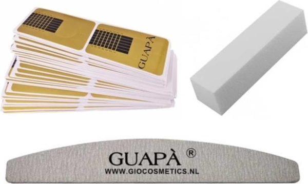 GUAPÀ - Acryl Nagel Sjablonen Set - Nail Forms - French Manicure - Goud - Nagelvijlen | 50 stuks