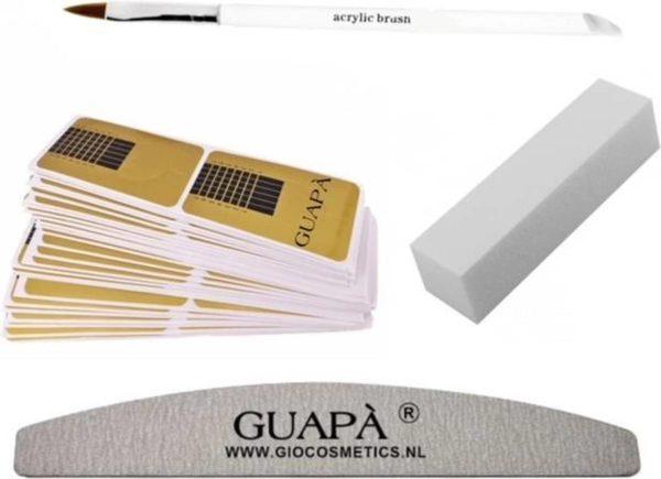 GUAPÀ - Acryl Nagel Sjablonen Set - Nail Forms - French Manicure - Goud - Nagelvijlen & Acryl Penseel | 50 stuks