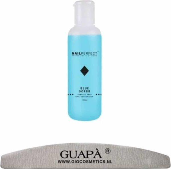 GUAPÀ - Blue Scrub voor het reinigen en ontvetten van je Gel nagels inclusief een Moon Nagelvijl 100/180 - 100 ml
