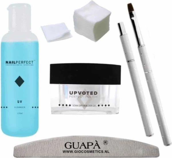 GUAPÀ - Builder Gel Pakket Deluxe voor het zetten van Nagelverlenging & Verstevigde Nagels - Bouwgel - Gel penseel & UV Cleanser - Nagelvijl & Celstof Pads