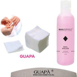 GUAPÀ - Celstofdeppers Remover Set met Pluisvrije Nail Wipes voor het reinigen en verwijderen van je Gel - Acryl - Poly Gel Nagels & Nagellak + Nagelvijl Moon 100/180