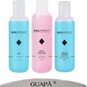 GUAPÀ - Gel Nagels Starterskit - Nagel vloeistoffen voor het voorbereiden en verwijderen van Gel nagels - UV Cleanser - Remover - Blue Scrub - 300 ml + Nagelvijl
