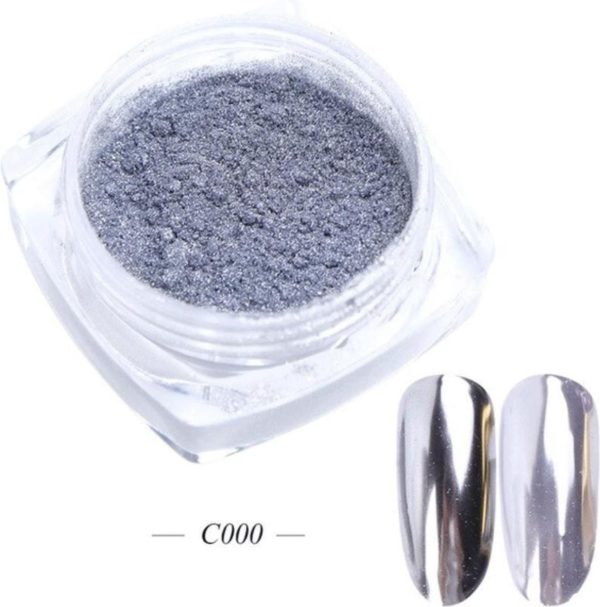 GUAPÀ - Holografische Glitter Poeder - Zilver - Nail Art & Nagel Decoratie Chrome Nails - 1 stuk