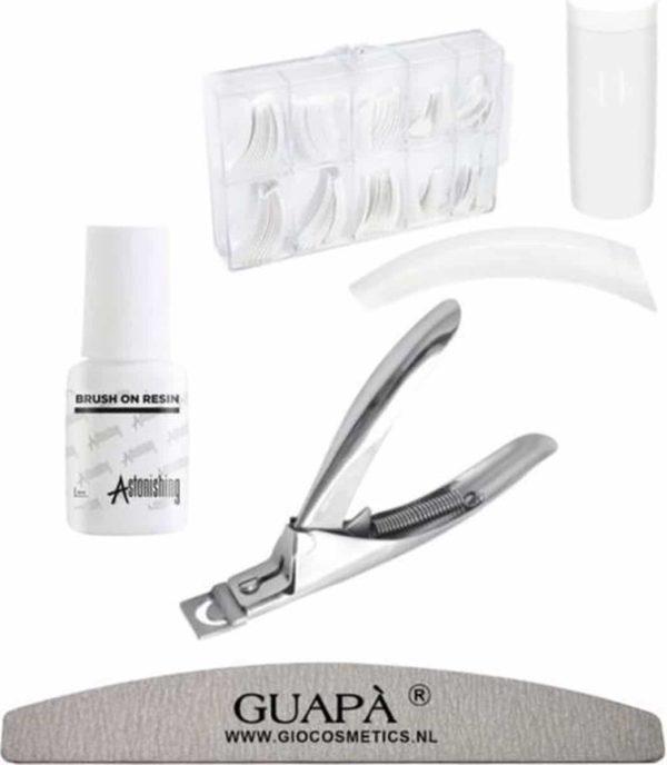 GUAPÀ - Kunstnagel Set voor het zetten van Nagelverlenging - 100 stuks French Manicure Wit + 5 ml nagellijm + Tipknipper en Nagelvijl - Acrylnagels - Tips - Nepnagels pakket