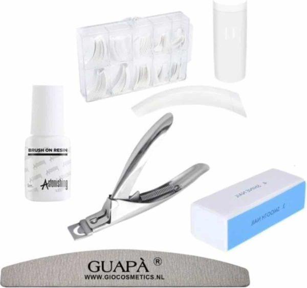 GUAPÀ - Kunstnagel Set voor het zetten van Nagelverlenging - 100 stuks French Manicure Wit Deluxe Nagel Kit - Acryl, Gel & Poly Gel nagels -