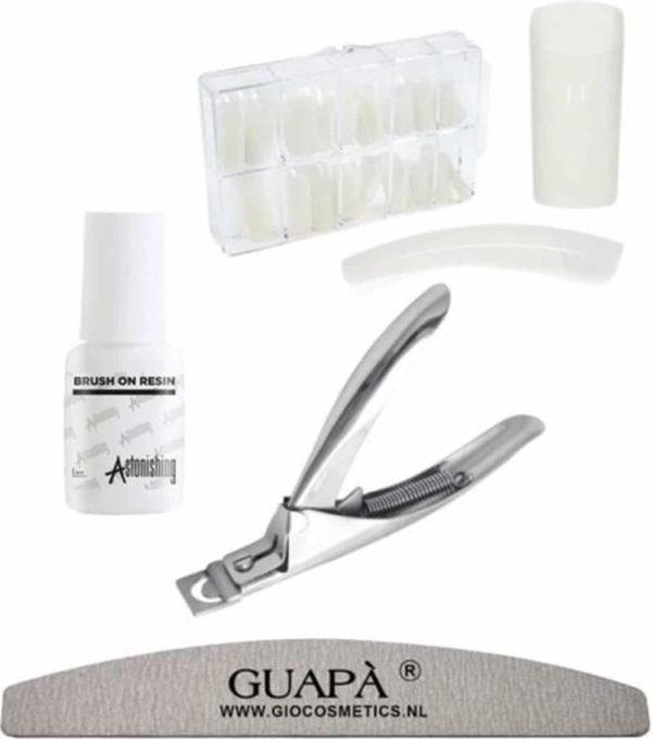 GUAPÀ - Kunstnagel Set voor het zetten van Nagelverlenging - 100 stuks Naturel + 5 ml nagellijm + Tipknipper en Nagelvijl - Acrylnagels - Tips - Nepnagels pakket