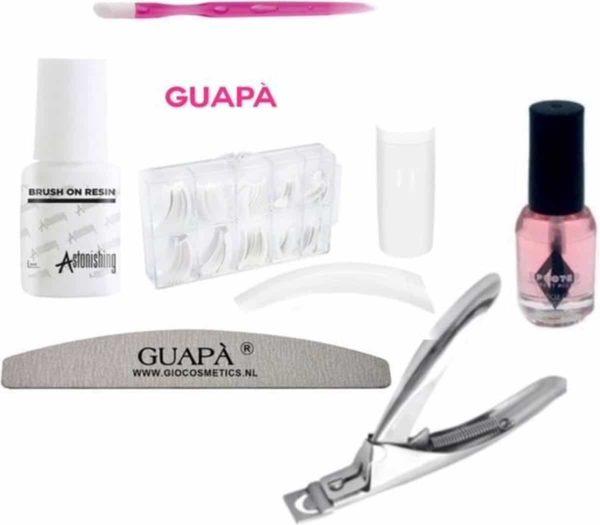 GUAPÀ - Kunstnagel Set voor het zetten van Nagelverlenging - 100 stuks Tips French Manicure Wit + 5 ml nagellijm + Tipknipper + Nagelvijl en Nagelriem Olie - Acrylnagels - Tips - Nepnagels pakket
