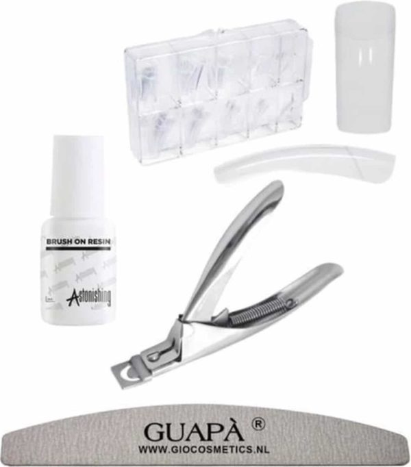 GUAPÀ - Kunstnagel Set voor het zetten van Nagelverlenging - 100 stuks Transparant + 5 ml nagellijm + Tipknipper en Nagelvijl - Acrylnagels - Tips - Nepnagels pakket