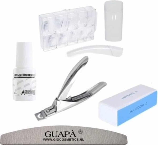 GUAPÀ - Kunstnagel Set voor het zetten van Nagelverlenging - 100 stuks Transparant Deluxe Nagel Kit - Acryl, Gel & Poly Gel nagels -