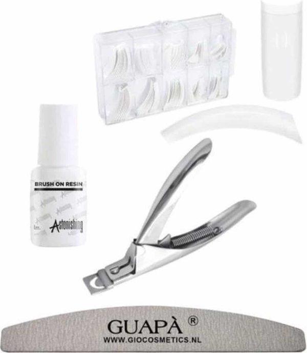 GUAPÀ - Kunstnagel Set voor het zetten van Nagelverlenging - 500 stuks French Manicure Wit + 5 ml nagellijm + Tipknipper en Nagelvijl - Acrylnagels - Tips - Nepnagels pakket