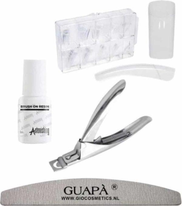 GUAPÀ - Kunstnagel Set voor het zetten van Nagelverlenging - 500 stuks Transparant + 5 ml nagellijm + Tipknipper en Nagelvijl - Acrylnagels - Tips - Nepnagels pakket