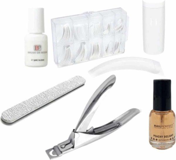 GUAPÀ - Kunstnagels Voordeel Set French Manicure Wit + Nagellijm + Tipknipper + Nagelriem Olie & Nagelvijl