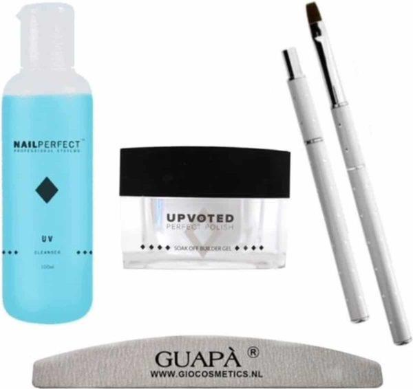 GUAPÀ - Nagel Builder Gel Pakket voor het verlengen en verstevigen van Nagels - Bouwgel - Gel penseel - Nagelvijl & UV Cleanser