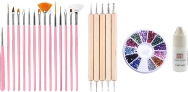 GUAPÀ - Nagel Penselen Set Roze + Rhinestones Diverse Kleuren + Druppel & Dotting Pennen + Nagellijm - Nail Art, Acryl & Gel Nagels - 4 Delige Set