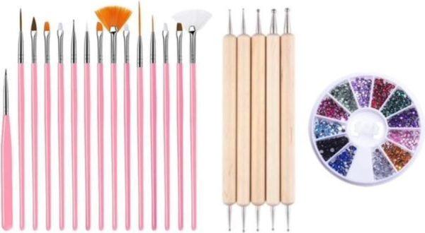 GUAPÀ - Nagel Penselen Set Roze + Rhinestones Diverse Kleuren + Druppel & Dotting Pennen - Nail Art, Acryl & Gel Nagels - 3 Delige Set