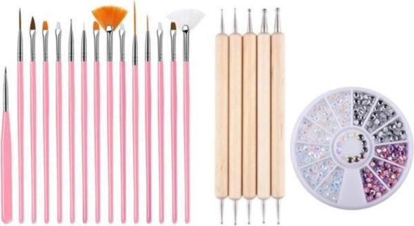 GUAPÀ - Nagel Penselen Set Roze + Rhinestones Parelmoer + Druppel & Dotting Pennen - Nail Art, Acryl & Gel Nagels - 3 Delige Set