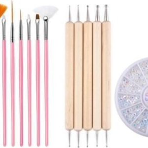 GUAPÀ - Nagel Penselen Set Roze + Rhinestones Parelmoer Rosé + Druppel & Dotting Pennen + Nagellijm - Nail Art, Acryl & Gel Nagels - 4 Delige Set
