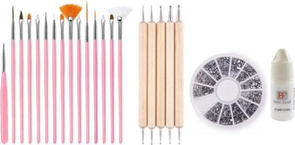 GUAPÀ - Nagel Penselen Set Roze + Rhinestones Zilver + Druppel & Dotting Pennen + Nagellijm - Nail Art, Acryl & Gel Nagels - 4 Delige Set
