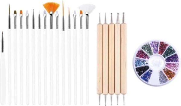 GUAPÀ - Nagel Penselen Set Wit + Rhinestones Diverse Kleuren + Druppel & Dotting Pennen - Nail Art, Acryl & Gel Nagels - 3 Delige Set